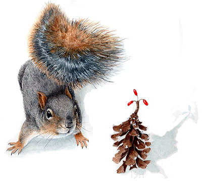 Squirrel Watercolor Painting - Squirrel And Festive Pine Cone by Inger Hutton