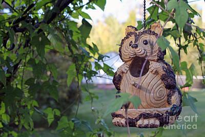 Squirrel Bird Feeder Art Print