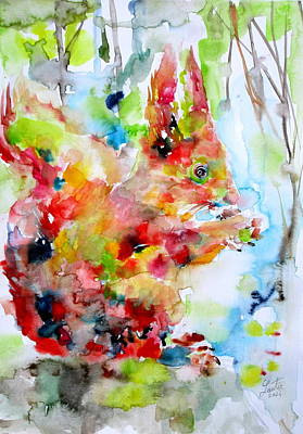 Squirrel Watercolor Painting - Squirrel Eating by Fabrizio Cassetta