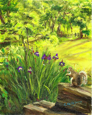 Wall Art - Painting - Squirrel In Backyard by C Keith Jones