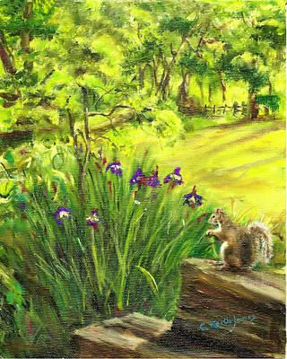 Painting - Squirrel In Backyard by C Keith Jones