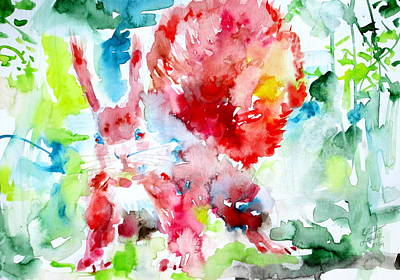 Squirrel Watercolor Painting - Squirrel Number One by Fabrizio Cassetta