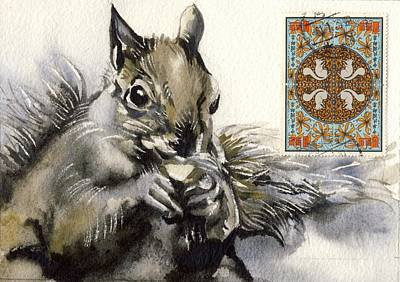 Squirrel Watercolor Painting - Squirrel Painting With Stamps by Alfred Ng