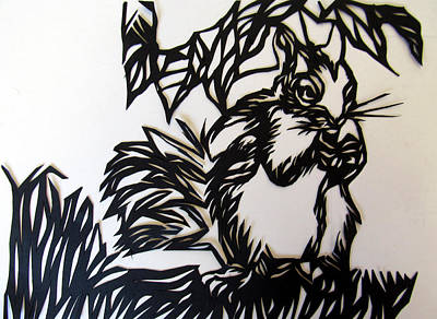 Squirrel Mixed Media - Squirrel Paper Cut by Alfred Ng