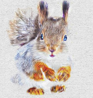 House Pet Digital Art - Squirrel Portrait by Yury Malkov