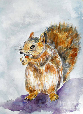 Squirrel Watercolor Painting - Squirrel With Nut by Vicki  Housel