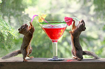 Alcohol Photograph - Squirrels At Cocktail Hour by Peggy Collins