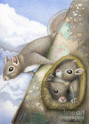 Fauna Painting - Squirrels by Wayne Hardee