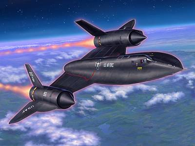 Blackbird Wall Art - Painting - Sr-71 Blackbird by Stu Shepherd