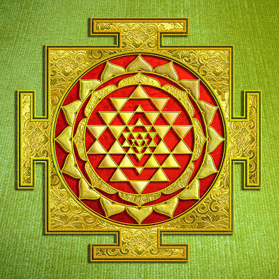 Mixed Media - Sri Gold Yantra by Lila Shravani