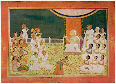 Jainism Wall Art - Drawing - Sri Jinalabha Suri Preaching by Mary Evans Picture Library