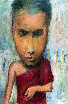 Thai Artist Artists Painting - Sri Lankan Monk - 2012 by Nalidsa Sukprasert