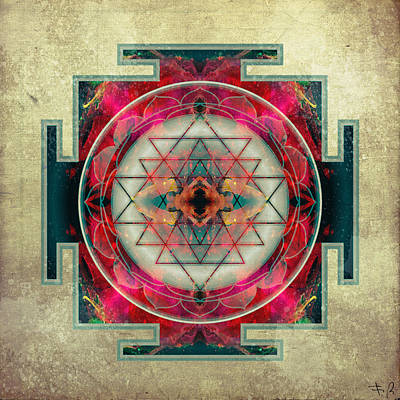 Flower Of Life Digital Art - Sri Yantra  by Filippo B