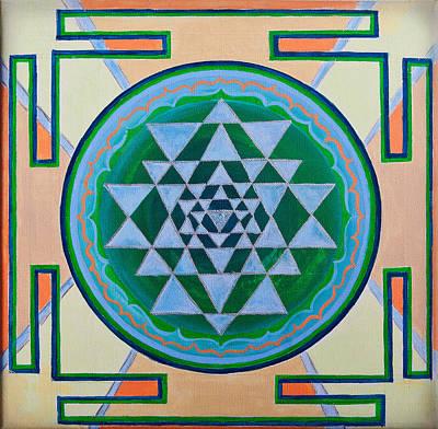 Sri Yantra For Meditation Painted Art Print by Raimond Klavins