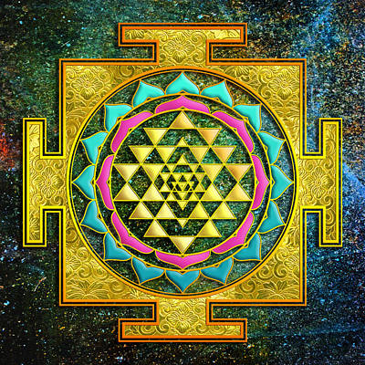 Mixed Media - Sri Yantra Gold And Stars by Lila Shravani