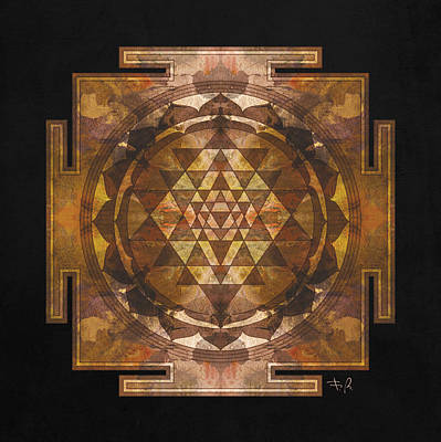 Sri Yantra Gold Art Print