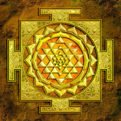 Mixed Media - Sri Yantra Gold Stone by Lila Shravani