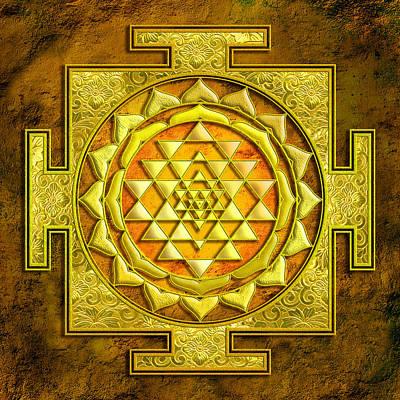 Wealth Mixed Media - Sri Yantra Gold Stone by Lila Shravani
