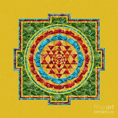 Digital Art - Sri Yantra In Green by Olga Hamilton
