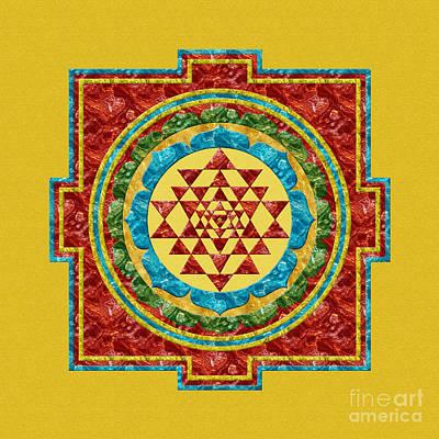 Digital Art - Sri Yantra In Red by Olga Hamilton