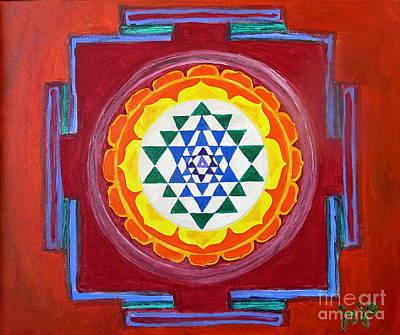 Chakra Painting - Sri Yantra by Jodie  Scheller