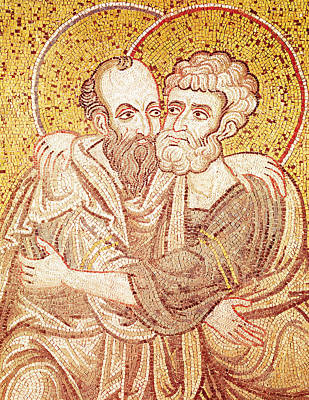 Saints Peter And Paul Embracing Art Print by Byzantine School