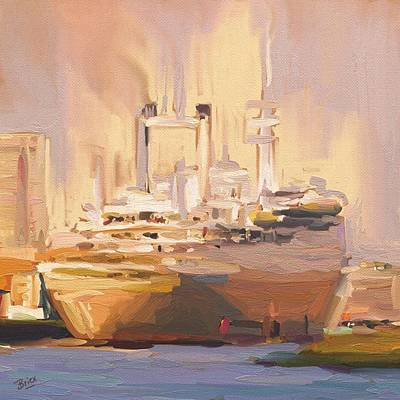Ship Painting - Ss Rotterdam In Autumn Light by Nop Briex