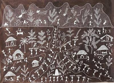Indian Tribal Art Painting - Ssm 11 by Sadashiv Mashe