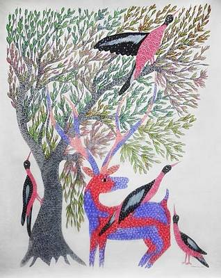 Gond Tribal Art Painting - Sss 01 by Sambhav Singh Shyam