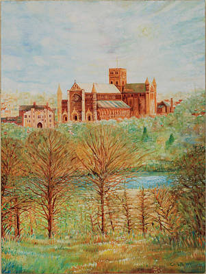 St Albans Abbey - Autumn View Art Print by Giovanni Caputo