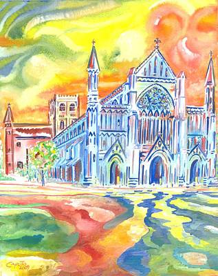 St Albans Abbey - Rainbow Celebration Art Print