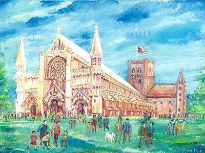 Painting - St Albans Abbey With Congregation by Giovanni Caputo