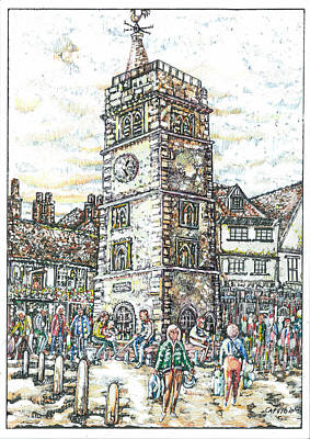 Mixed Media - St Albans Clock Tower - Busy Market Day by Giovanni Caputo
