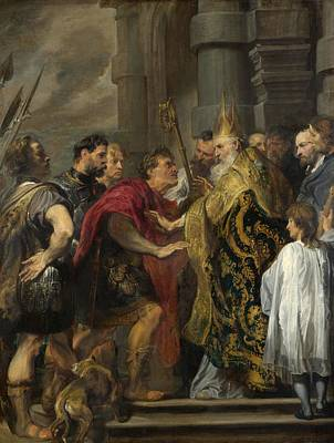 1620 Painting - St. Ambrose Barring Theodosius From Milan Cathedral by Anthony van Dyck