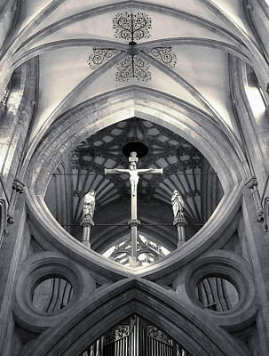 Photograph - St Andrews Cross Scissor Arches Of Wells Cathedral  by Menega Sabidussi