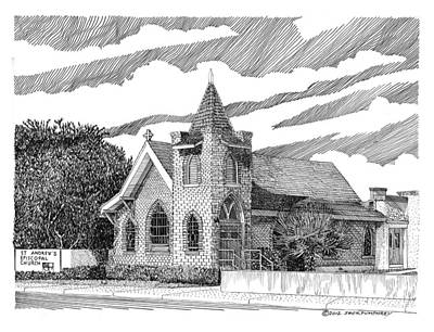 New Mexico Drawing - St Andrews Las Cruces Nm by Jack Pumphrey
