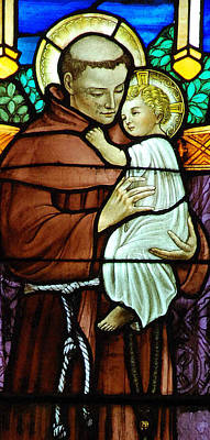Religious Art Digital Art - St Anthony In Stained Glass by Philip Ralley