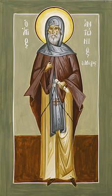 Greek Icon Painting - St Anthony by Julia Bridget Hayes