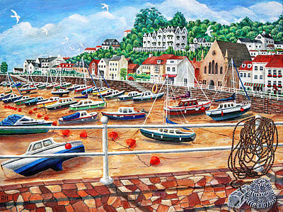 Fishing Boats Painting - St Aubin's Harbour - Jersey by Ronald Haber