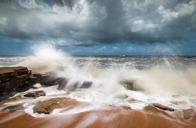 Photograph - St. Augustine Fl Beach Seascape Crashing Waves by Dave Allen