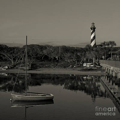 Photograph - St. Augustine Lighthouse Beach Early Morning Monochrome by Kathi Shotwell