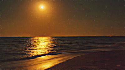 State Love Nancy Ingersoll - St Augustine Moonlit Beach by John M Bailey