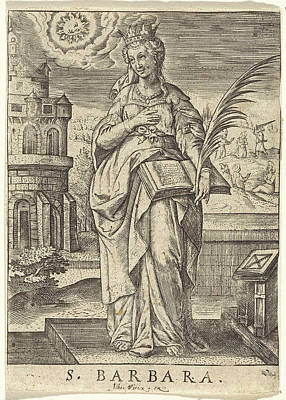 St.barbara Drawing - St. Barbara, Johannes Wierix by Johannes Wierix