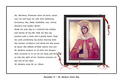 St. Barbara Protector From All Harm - Prayer - Petition Art Print by Barbara Griffin
