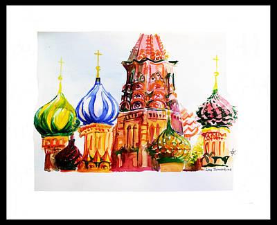 Graphics Painting - St. Basil Cathedral by Lina Tumarkina