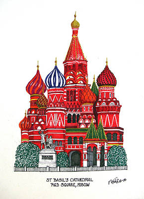 Drawing - St Basil's Cathedral by Frederic Kohli