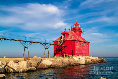 Nikki Vig Royalty-Free and Rights-Managed Images - St Bay Lake Michigan Lighthouse by Nikki Vig
