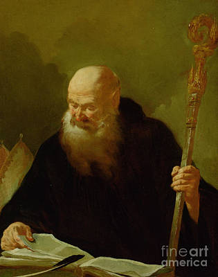 Old Books Painting - St. Benedict by Giambattista Piazzetta