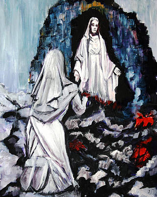 Painting - St. Bernadette At The Grotto by Frank Botello