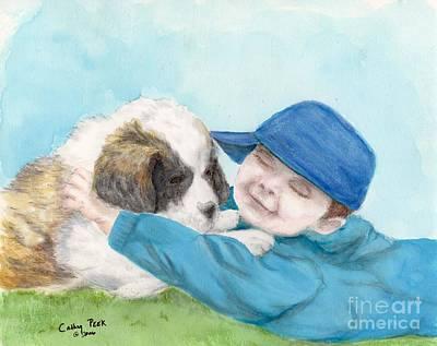Hugging Saint Painting - St Bernard Puppy Hugs Little Boy Animal Art by Cathy Peek